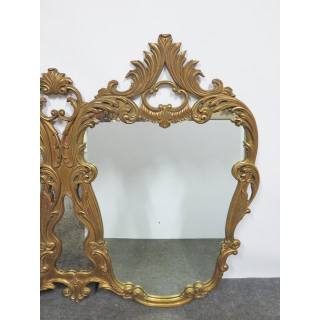 Rococo Italian Rococo Carved Gold Gilt Overmantle Mirror For Sale - Image 3 of 6