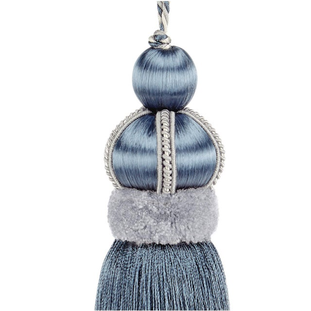 Blue satin covered key tassel is made with cut velvet ruche, decorative gimp and has a three color, twisted cord detail....