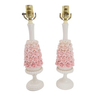 Vintage Capodimonte Style Porcelain Flower Cluster Table Lamps With Carrera Marble Base - a Pair For Sale