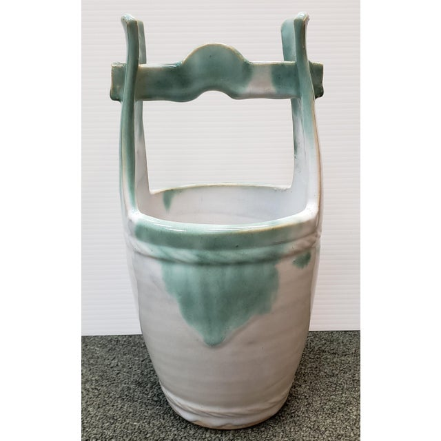 Ceramic Mid 20th Century Japanese Glazed Stoneware Water Bucket Form Vase For Sale - Image 7 of 7