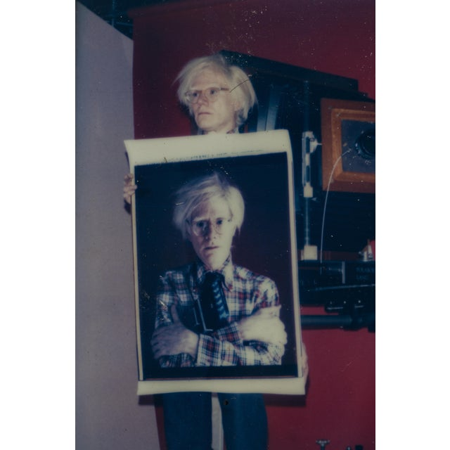 Late 20th Century Polaroid of Andy Warhol Holding Polaroid by Bill Ray Signed Andy Warhol For Sale - Image 5 of 11