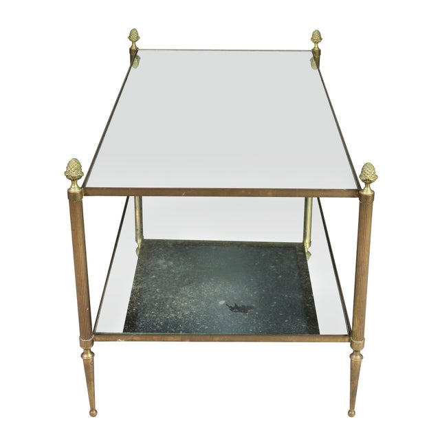 Jansen Style Brass and Mirrored Coffee Table For Sale In Boston - Image 6 of 9