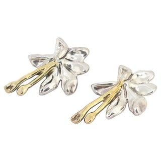 Large Sterling & Gilt Flower Earrings Preview