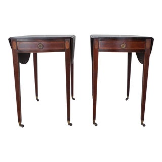 CHARAK Federal Style Mahogany Banded 1 Drawer Pembroke End Tables - a Pair