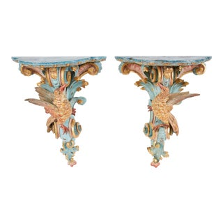 18th Century Italian Rococo Pine Wall Brackets For Sale