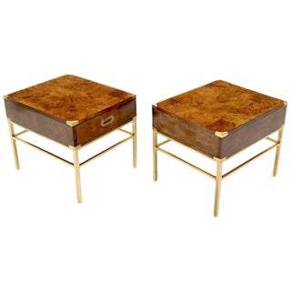 Pair of Burl & Brass Mid-Century Modern End Tables Stands Campaign Style For Sale