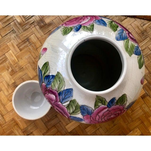 Asian Hand Painted Rose Floral Porcelain Ginger Jar For Sale - Image 3 of 7