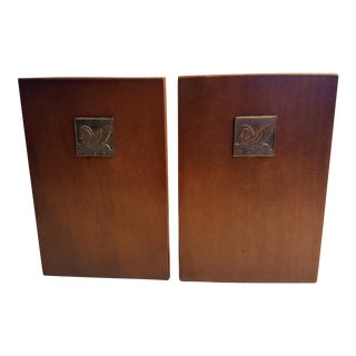 Pair of Walnut Bookends With Art Deco Styled Pegasus Bronze Plaques by Rockwell Kent