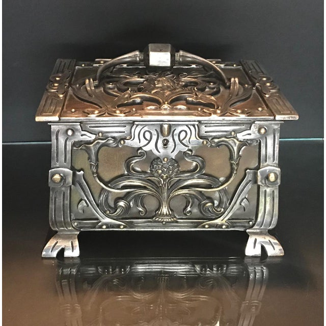 20th Century Art Nouveau Silvered Heavy Bronze Jewelry Box Casket For Sale - Image 12 of 13