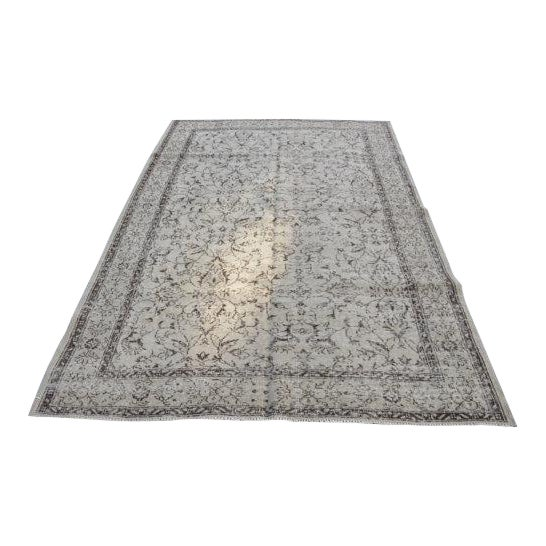 Vintage Handwoven Turkish Beige Oushak Floor Rug - 5′8″ × 8′6″ - Image 1 of 6