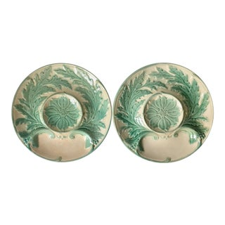 Antique French Gien Majolica Artichoke Plates-A Pair For Sale
