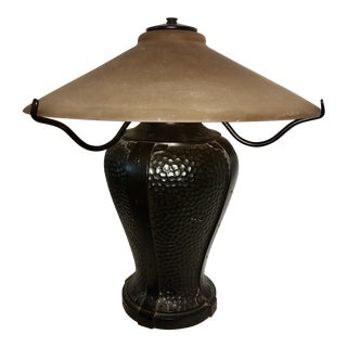 Arts and Crafts Hammered Copper Table Lamp For Sale