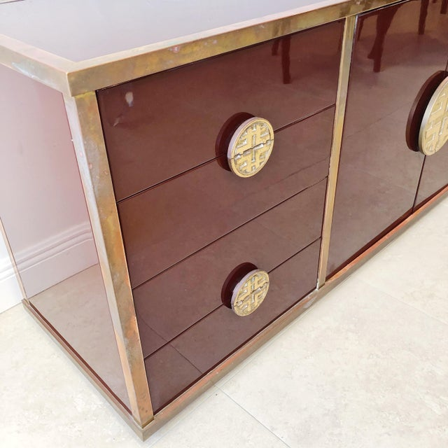 Giacomo Sinopoli for Liwan's of Rome, Italy Bronze Asian Hardware Credenza Sideboard, 1972 For Sale - Image 4 of 12