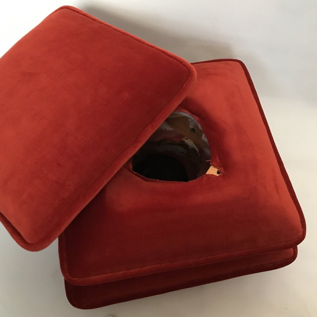 Red Final Markdown Stacked Cushion Ottoman For Sale - Image 8 of 9