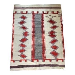 Navajo Blanket With Twin Diamond and Striped Pattern in Ivory, Red & Gray For Sale