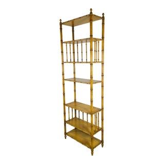 1990s Regency John Widdicomb Faux Bamboo Shelving For Sale
