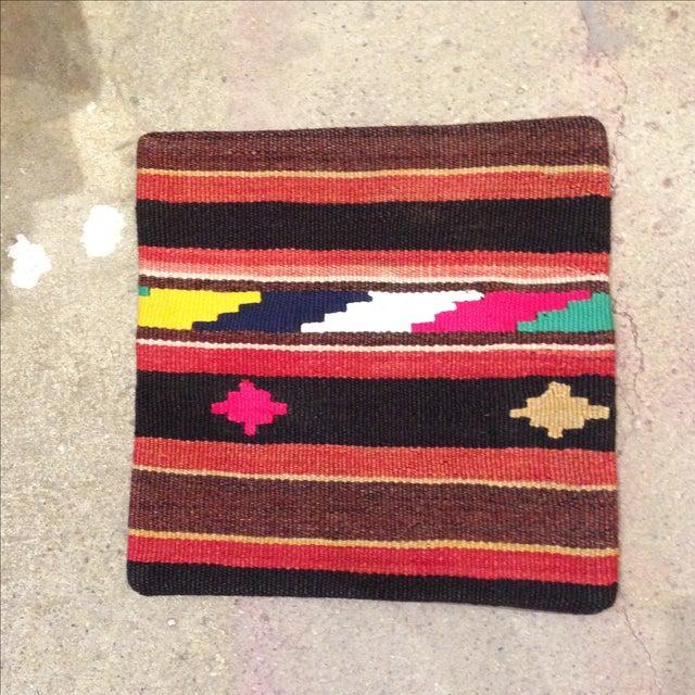 Vintage Striped Turkish Kilim Pillow - Image 2 of 5