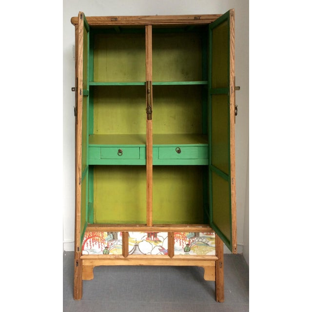 Retro Chinese Upholstered Armoire - Image 6 of 10