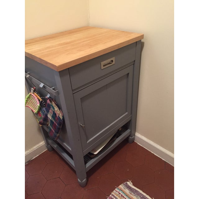 Gray Crate & Barrel Kitchen Island With Butcher Block For Sale - Image 8 of 10