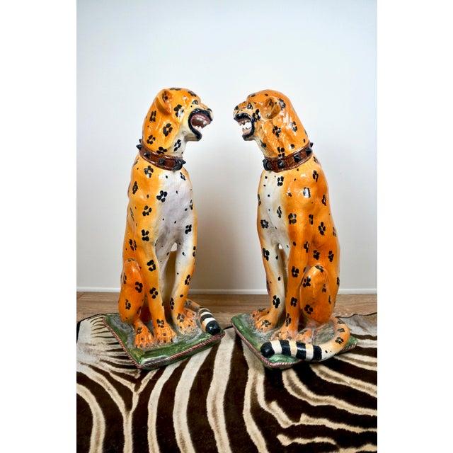 Mid-Century Italian Ceramic Cheetah Statues - Pair For Sale In Las Vegas - Image 6 of 8