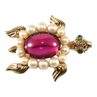 1940s Vintage Trifari Turtle Brooch Pin Cranberry Red Faux Pearls For Sale