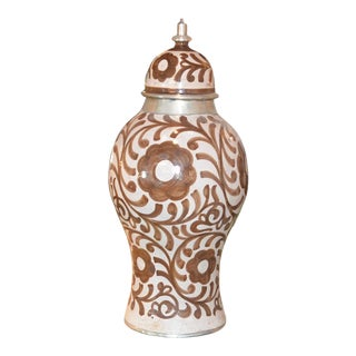 Moroccan Ceramic Hand Painted Vase For Sale