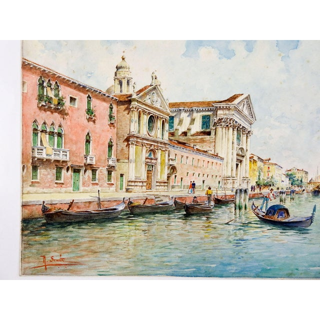 Grand Tour Venice Watercolor Painting by Rafael Senet For Sale - Image 3 of 5