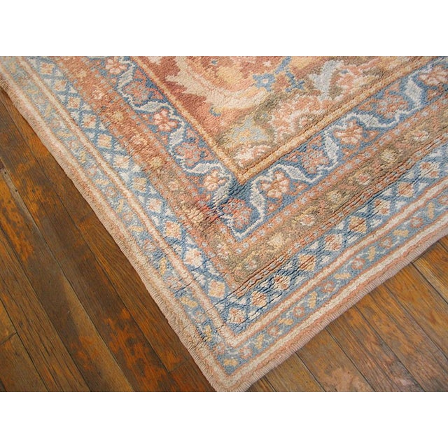 """1910s Traditional Blue and Peach Cotton Rug - 4'2""""x6'8"""" For Sale - Image 4 of 8"""