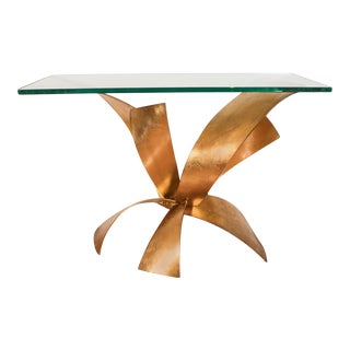 Sculptural Gilt Iron Console Table For Sale