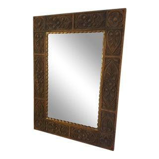 Imported Moroccan Carved Wood Wall Mirror For Sale
