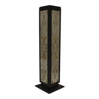 Art Deco Black Lacquered Square Pedestal For Sale