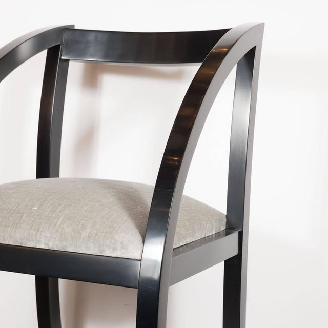This chic set of Art Deco dining chairs features gently arched ebonized walnut legs and smoked platinum velvet seat. A...
