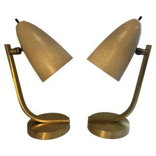 Mid-Cenutury Brass and Fiberglass Desk Lamps For Sale