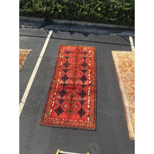 "Vintage Persian Qashghi Rug - 4'2""x9' For Sale - Image 13 of 13"
