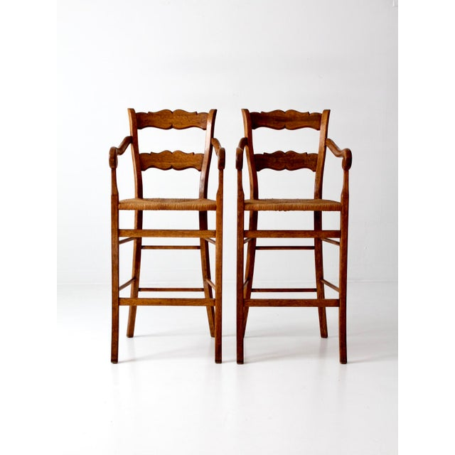 Vintage High Back Bar Arm Stools - A Pair - Image 4 of 7