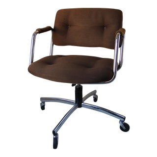 Mid-Century Modern Steelcase Chrome & Tweed Office Chair For Sale