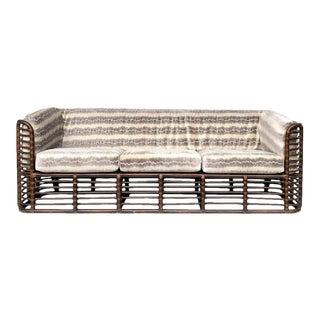 Henry Olko 1970s Rattan Sofa With Velvet Upholstery For Sale