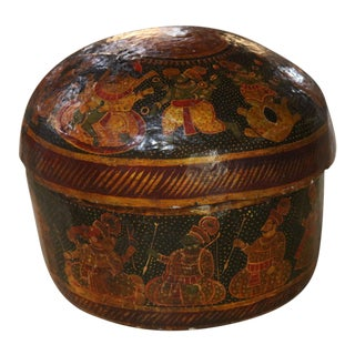 Painted Wooden Box With Lid For Sale