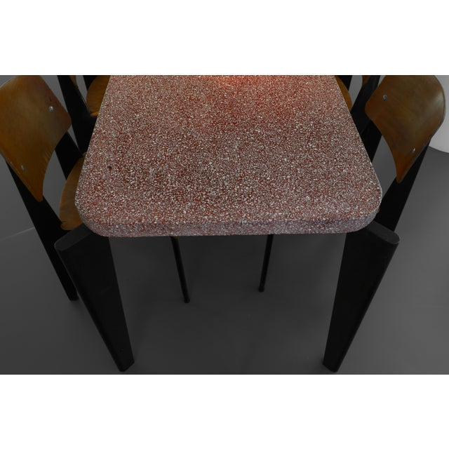 Jean Prouve Dining Table and Chairs – Granito Table and 6 Metropole Chairs For Sale - Image 6 of 10
