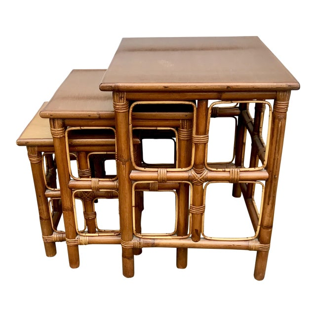 1960s Mid-Century Modern Rattan Nesting Tables - Set of 3 For Sale