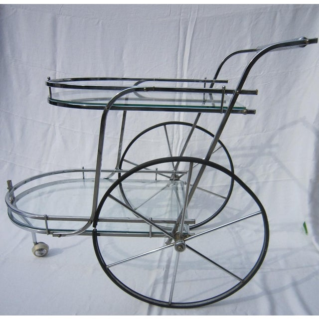 Italian Chrome Bar Cart - Image 2 of 6