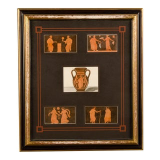 19th Century Greek Vase Engraving Painting by Sir William Hamilton For Sale