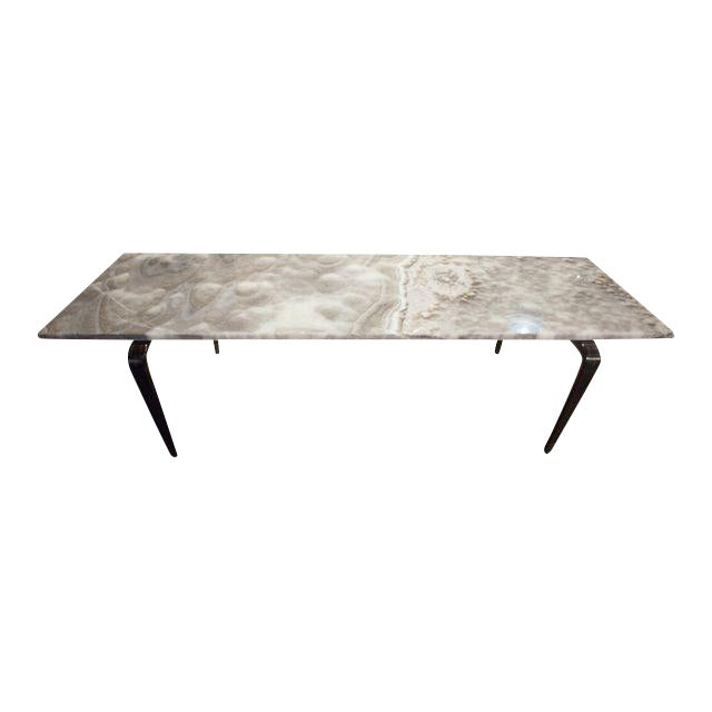 Custom Coffee Table with Onyx Top For Sale