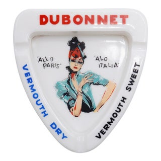 Dubonnet French Opaline Glass Ashtray For Sale
