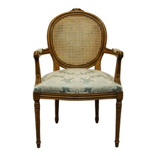 Vintage Louis XVI French Provincial Cane Back Dining Arm Chair For Sale