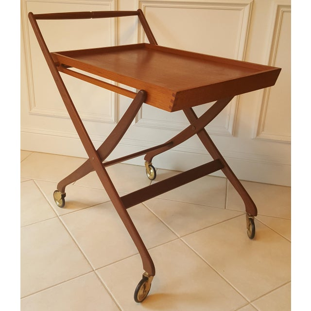 Mid Century Danish Teak Folding Bar Cart Image 2 Of 11