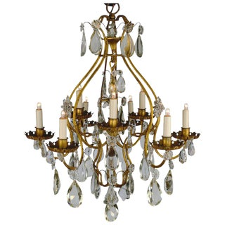 Continental Iron & Crystal Chandelier For Sale