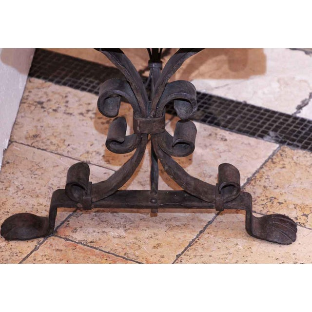 20th Century Traditional Wooden Bench With Wrought Iron Legs For Sale - Image 4 of 7