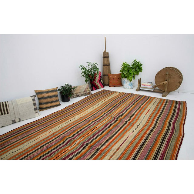 1960s Vintage Colorful Striped Turkish Kilim Rug- 5′11″ × 8′ For Sale In Los Angeles - Image 6 of 7