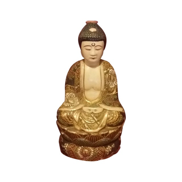 Vintage Hand Painted Gold Gilt Porcelain Buddha - Image 1 of 8